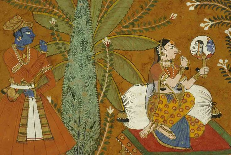 Secret Viewing of Krishna by Radha (detail - Radha sees Krishna's reflection in her mirror). India, ca. 1675, Varanasi (Banaras), Banaras Hindu University, Bharat Kala Bhavan