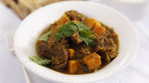 Sweet potato, lamb curry.  She is making now and looks amazing.  East too