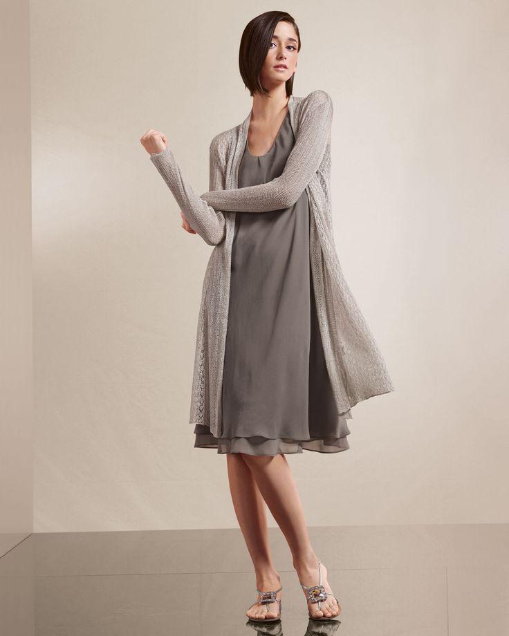 Eileen Fisher Lace Cardigan & Sleeveless Silk Dress