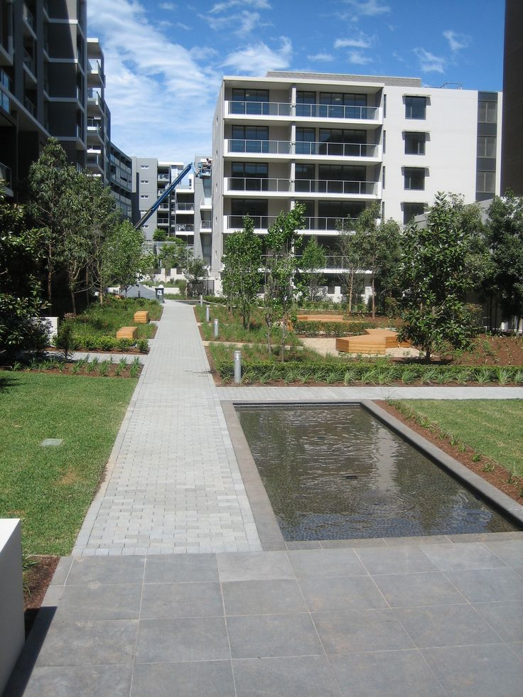 HydroSTON permeable concrete pavers used for a footpath at Amarco Apartments, Rhodes NSW, Australia.