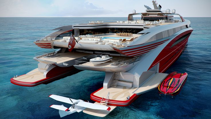 The 278-foot yacht features a full-size pool, an outdoor cinema, and enough stowage for a seaplane.
