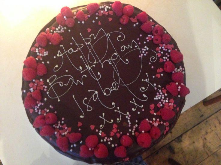 chocolate rose and raspberry birthday cake - treacle&co