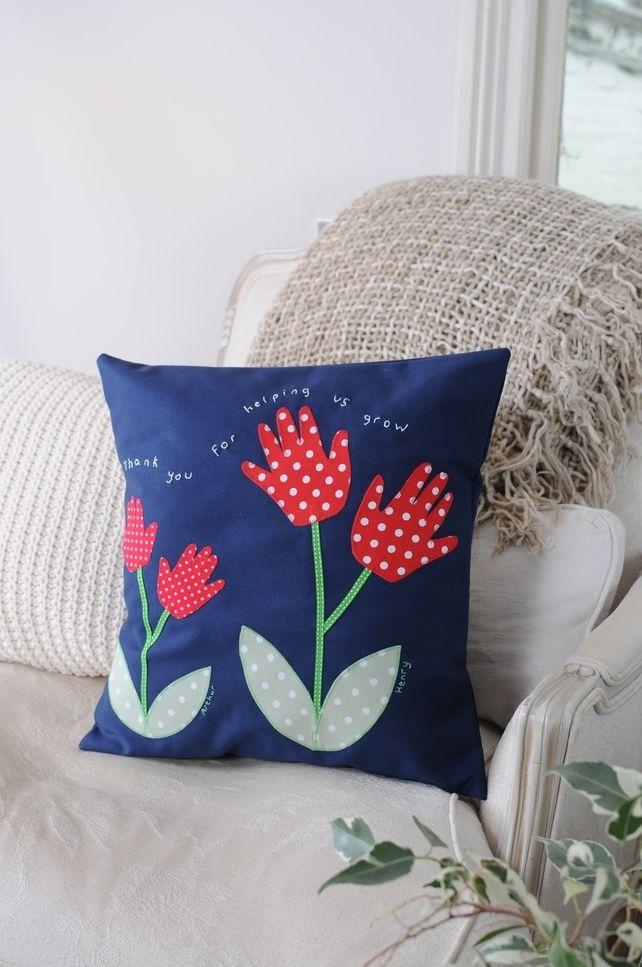 Children's Applique Handprint Flower cushion - Personalised - Navy
