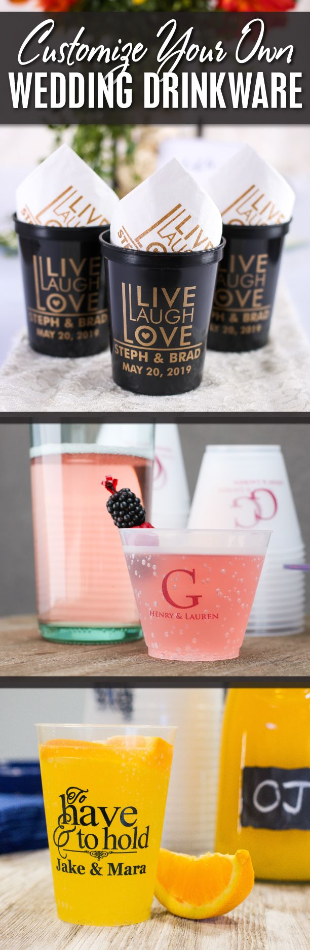 Customize your own #wedding drinkware with us! Wedding drinkware is the perfect functional favor to serve drinks at your wedding, and guests can take them home to use again and again in remembrance of your wedding! We offer a variety of styles, colors & sizes to compliment your wedding! Use coupon code PINNER10 and receive 10% off your drinkware order! Sale applies to piece price only, not valid with other coupon codes and expires 12.31.16!