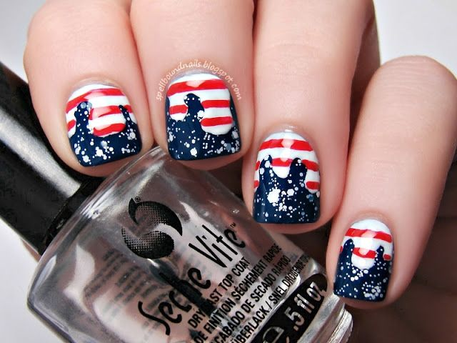 Patriotic Drip Nails, Fourth of July Nails, Spellbound Nails, cute nails, American Flag nail art, stars and stripes, glitter, red, white, and blue.