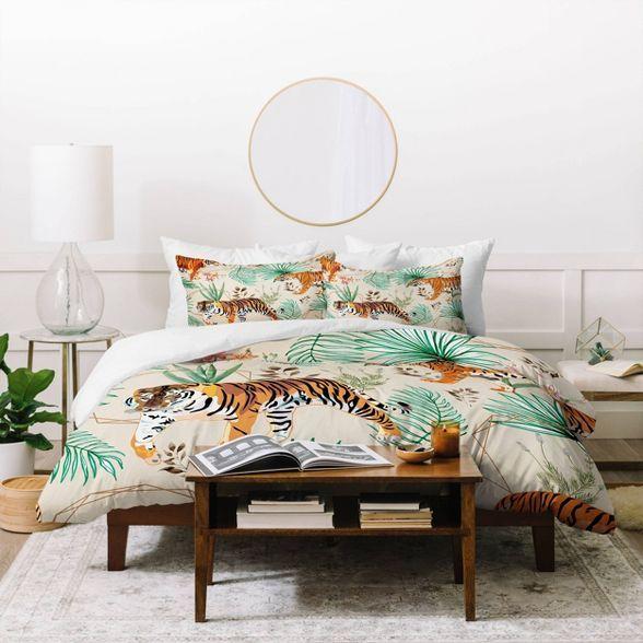 Queen Full 83 Oranges Tropical And Tigers Duvet Set Deny Designs In 2021 Duvet Sets Duvet Covers Bedding Sets
