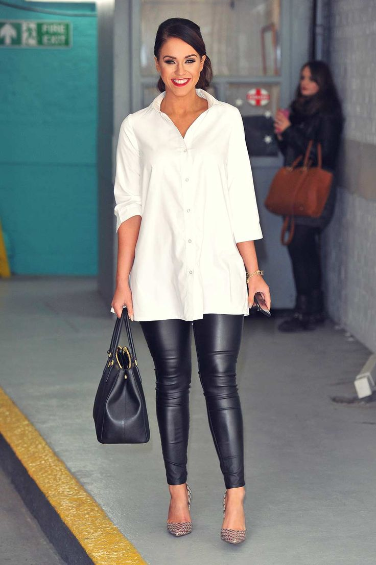 Vicky Pattison at the This Morning show #leatherpants #leatherskinnypants