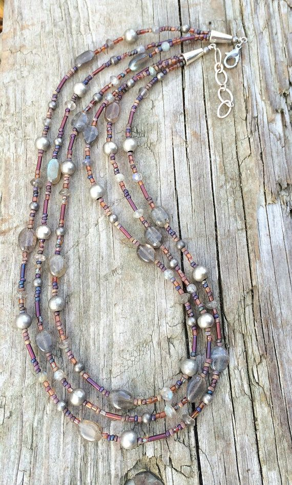 "Hand beaded strands with rustic Czech glass beads, labradorite and antiqued silver plated beads. Earthy colors and light weight. Adjustable between 17-18"" in length"