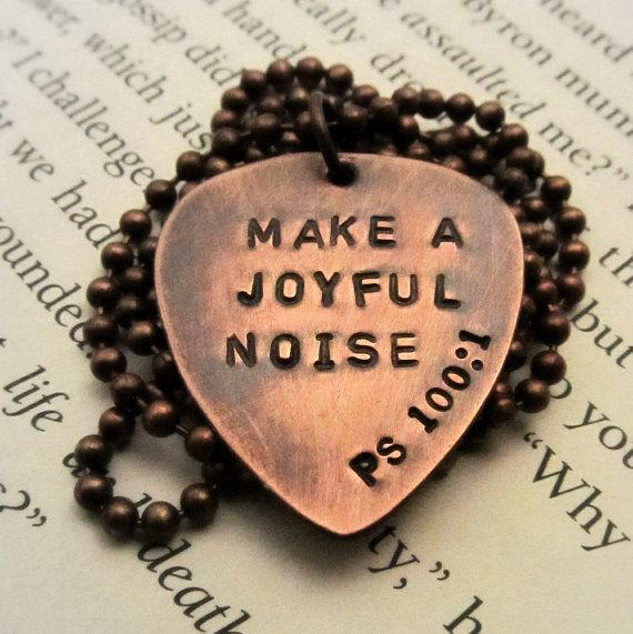 Custom Guitar Pick Necklace - Personalized Copper Hand Stamped Guitar Pick -  Mens Gift - with Phrase or Name of Your Choice