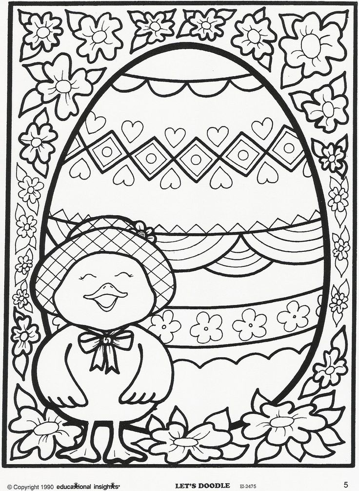 Easter Egg And Chick Coloring Page Free Educational Insights Printable From Lets Doodle Book