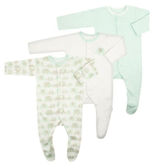 Mini Club Baby Unisex 3 Pack Sleepsuits - Boots