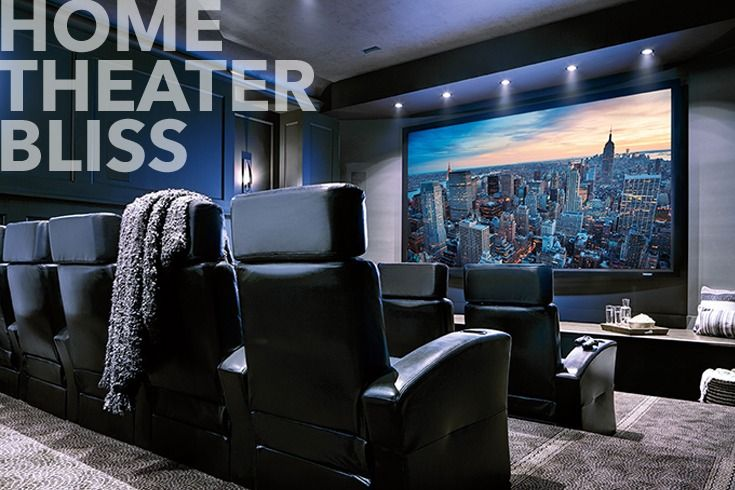 "Home Theater Bliss Combining amazing theater seating, surround sound, a premium home theater projector and a 150"" Stewart Filmscreen, this home theater brings the movie experience to life. See how we can turn nearly any room into a home theater at your local Magnolia Design Center."