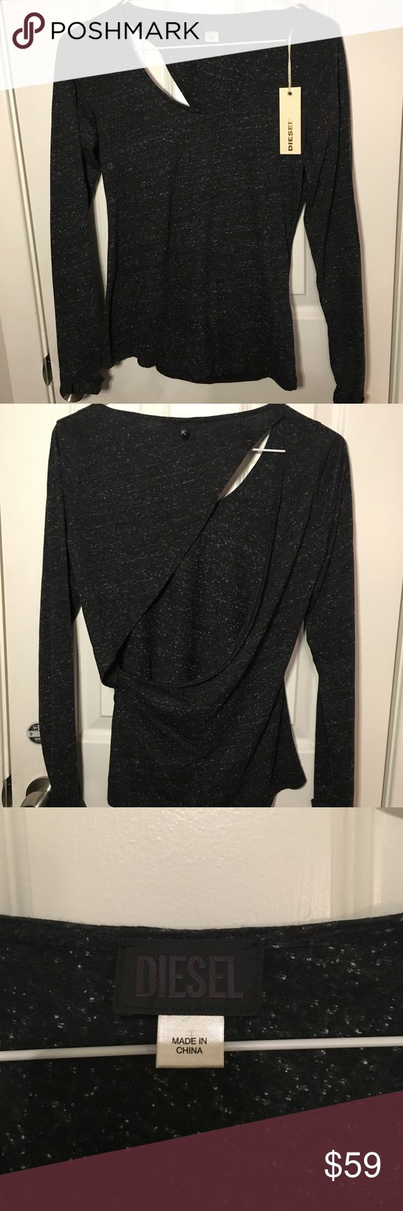 Diesel long sleeve top with opening in the back. Diesel very cute dark grey top with opening in the back. New with tags.feels like a XS/ S Diesel Tops Tees - Long Sleeve