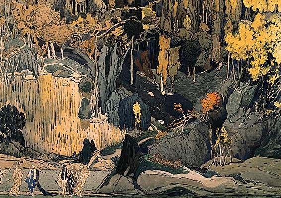 Léon Bakst, projet de décor pour Prélude à l'après-midi d'un faune  http://www.larousse.fr/encyclopedie/musdico/Debussy/167142
