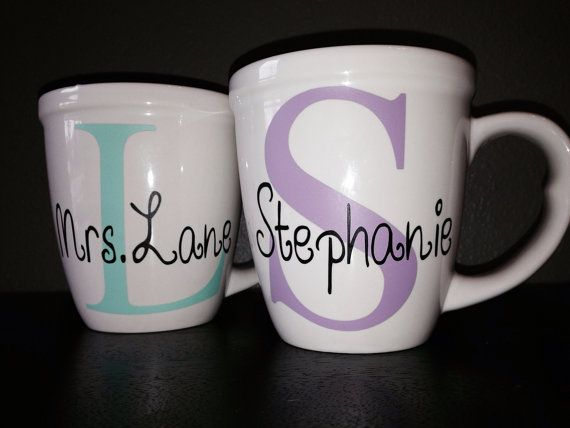 Custom Personalized Coffee Mug by KatiesVinylKreations on Etsy, $12.00