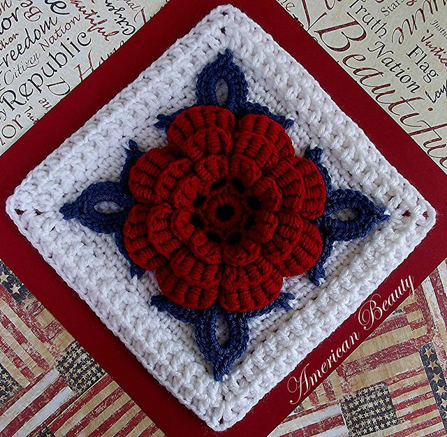"""Pattern available to buy for """"American Beauty Afghan Block"""" by Donna Kay Lacey."""