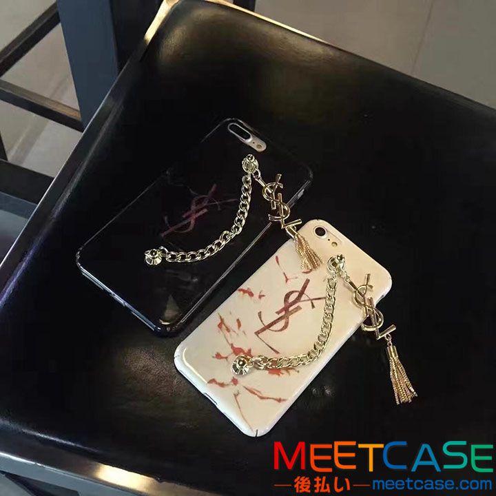 iPhone7 iPhone7plusケース サンローラン おしゃれ アイフォン6s 6splus携帯ケース YSL ジャケット型 チェーン付き 落下防止 レディース