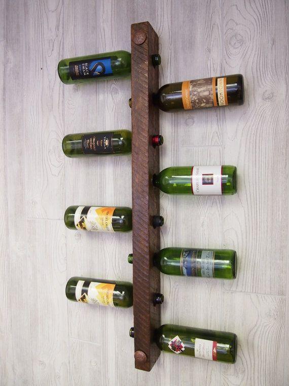 Rustic Wine Rack 8 bottle Ladder by VetrinaDelVino on Etsy