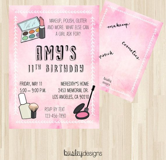 Makeup Birthday Invitation, Dress Up Party Invitation, Makeup Invitation, Make-over Invite, Makeup Spa Theme, Spa Sleepover Party
