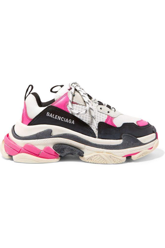 best sneakers ab15b 78bb1 NIB Famous BALENCIAGA Triple S Sneakers, sz IT 38, PinkWhiteBlack seen on  Ela Balenciaga