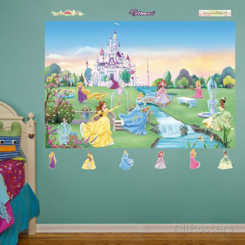 Best 25 princess mural ideas on pinterest castle mural for Barbie princess giant wall mural