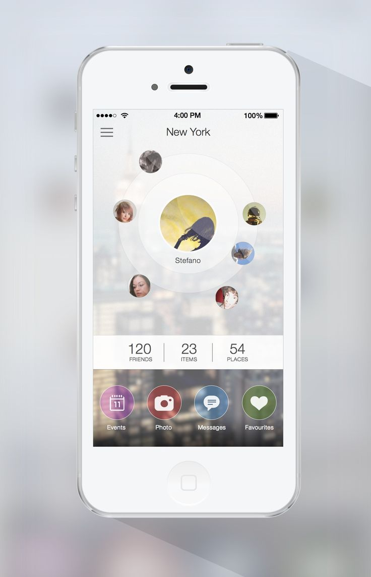 Apple. iPhone. iOS. People. Circle. App. Friends. Places. Items. Sleek. Design. Flat. White. Minimal.