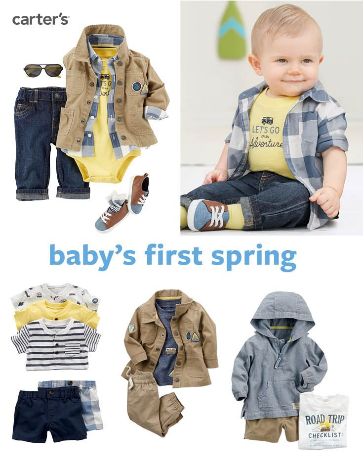 Shop his spring styles now! Celebrate his first spring with classic plaids, pull-on denim and a cute utility jacket!