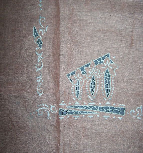 Vintage Peach Cutwork Bridge Cloth Tablecloth by VintageSixpence, $8.50