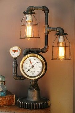 Machine Age Lamps Steampunk Gear Steam Gauge eclectic table lamps