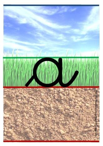 Pour débuter en cursive, avec les lignes guides terre-sol-ciel... Superbes affiches