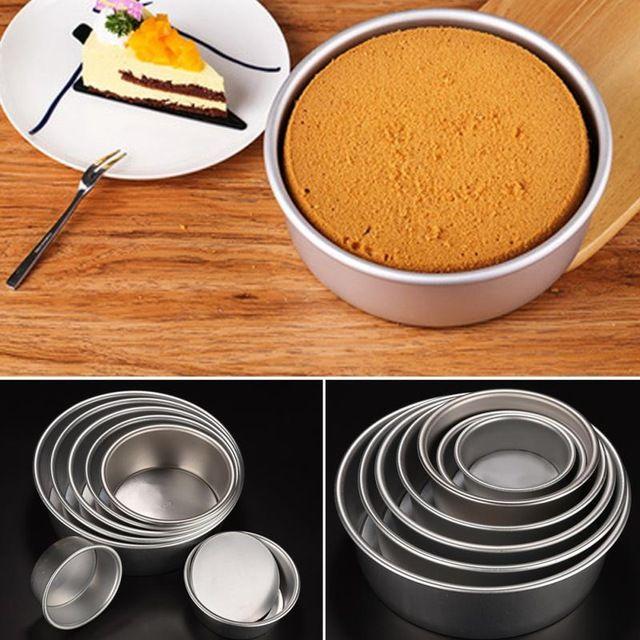 7 Tamaños de Alta Calidad de Aleación de Aluminio Redondo Cake Sándwich Molde Para Hornear Pan de Molde Molde de Cocina Para Hornear