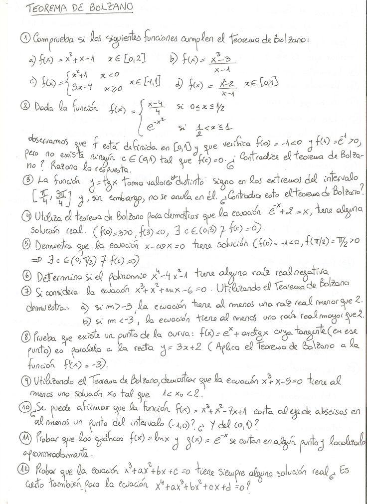 Ejercicios propuestos sobre el Teorema de Bolzano.
