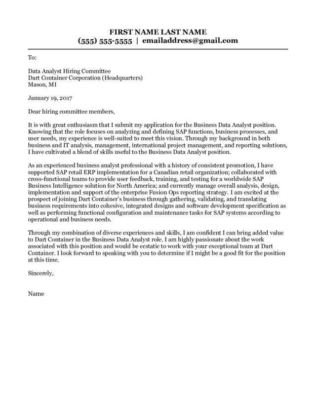 Management Analyst Cover Letter Data Analyst Sample Resume Cover Letter Letter Example