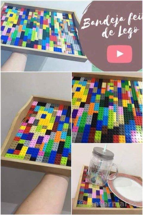 Uma bandeja linda com peças de Lego para dar um charme esepcial em sua casa!!!