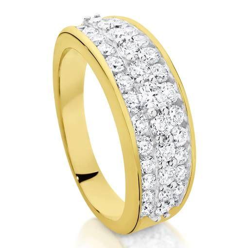 Kiss - 9 carat yellow gold multi diamond tdw1.00ct