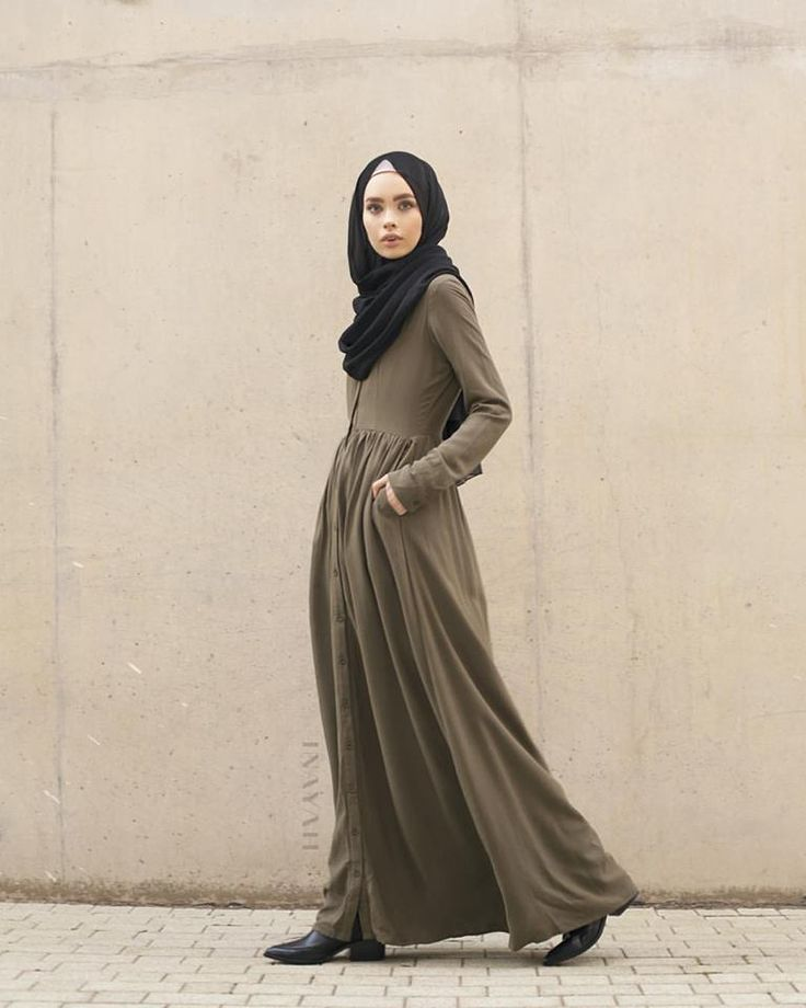 INAYAH | Black Georgette #Hijab +Khaki Cotton Shirt #Abaya www.inayahcollection.com