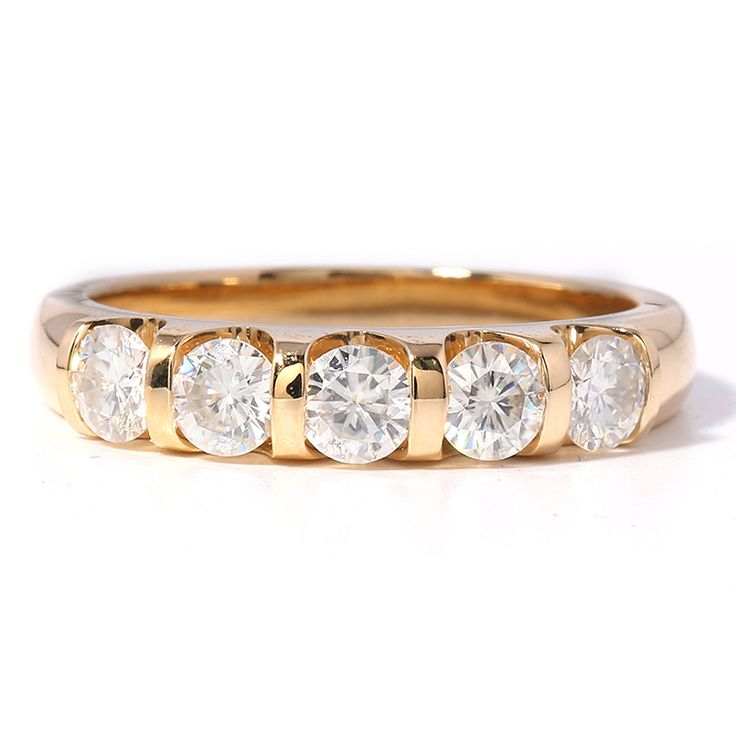 F Color moissanite Wedding Band made by TransGems