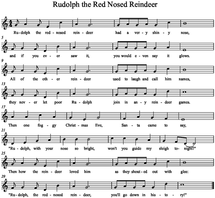 Music a la Abbott: Rudolph, the Red-Nosed Reindeer grade 4 syncopation lesson