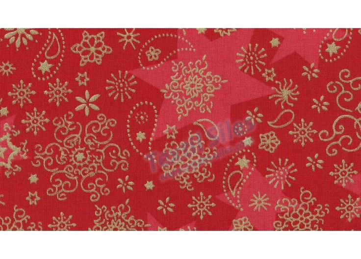 Patchwork Navidad Estrellas Hielo fondo rojo