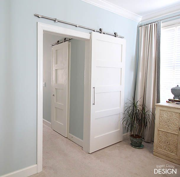 We knew our barn door would not only bring the function we desired, but bring an attractive, contemporary flair to the room. We searched and found a streamlined version of sliding door hardware, that wasn't too expensive, from Amazon for under $75 each. 6 Ft Modern Stainless Steel Interior Sliding Barn Wooden Door Hardware Track Set