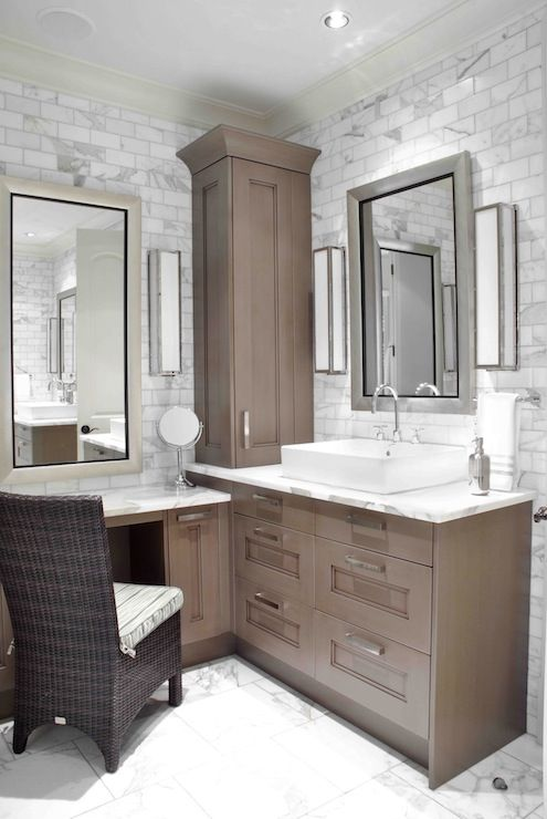Pics On Design Galleria Custom sink vanity built into corner of bathroom Lower make up area with silver leafed u Design Galleria Custom sink vanity built into