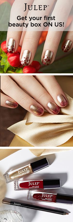 Get the colors used in this holiday nail look in a free beauty box when you join Julep. On-trend colors. Full-sized products. You're going to love it! Offer ends 12/25/15.