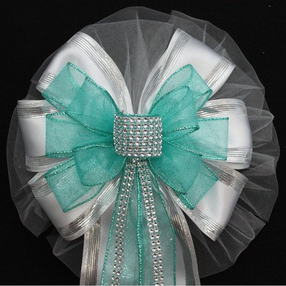 Church Pew Decorations For Weddings: Aqua Bling Sparkle Wedding Pew Bows