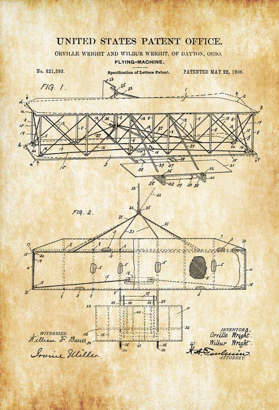 Wright Brothers avión patente  Vintage aviación arte Arte