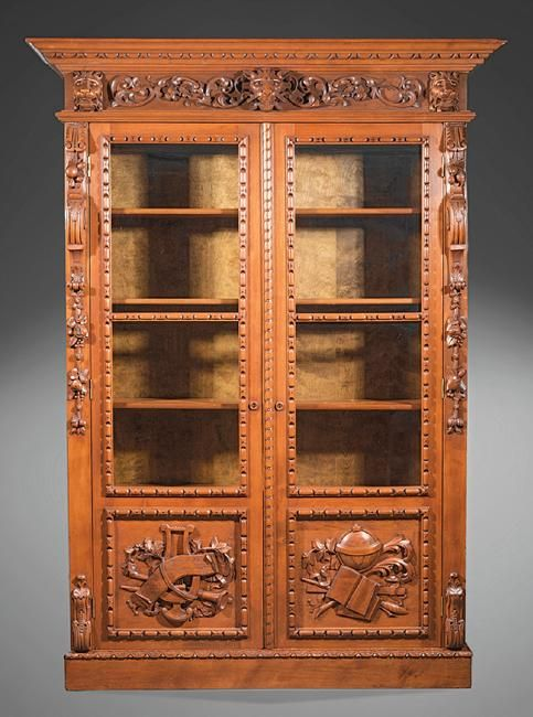 ~ American Renaissance Carved Walnut Bookcase ~ liveauctioneers.com