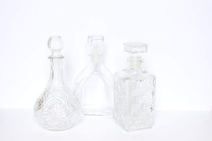 Decanters (Set of Three) | Liquor Decanters, Midcentury Decanter, Square Decanter, Cut Crystal Bottle, Bottle with Stopper, Wine Decanter by TheNorieCollection on Etsy