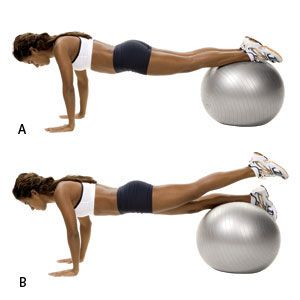 Stability Ball Leg Lift- Place your shins on a ball and walk your hands out until you're in the plank position. Pull your abs tight to keep your body stable. Next, raise your left leg, squeezing your glutes to lift it a few inches above the ball. Release and repeat with your right leg, alternating for 10 reps.
