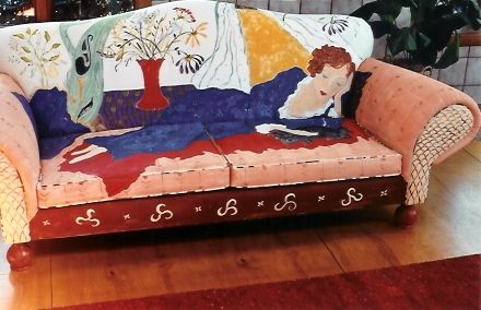Can't stand the upholstery? Cannot afford to reupholster?  Paint your couch. Fabulous.
