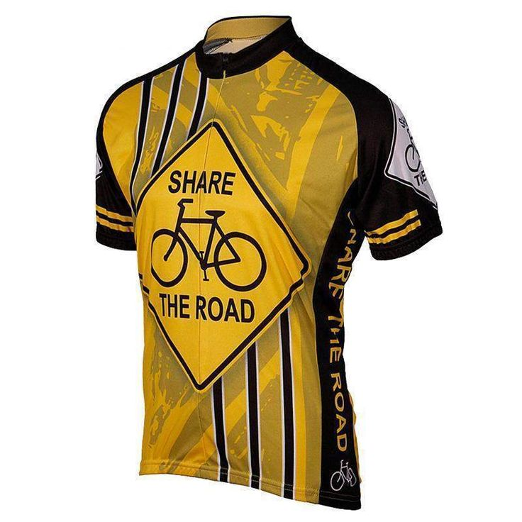 Yellow Share the Road Cycling Jersey