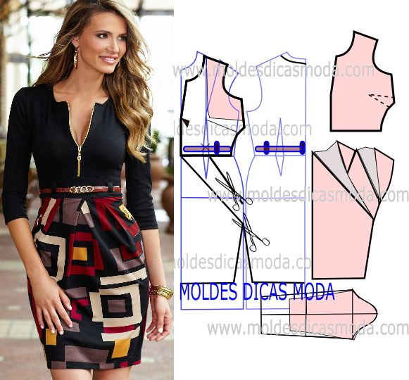 Analise o desenho da transformação do molde de vestido com saia estampada para…